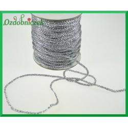 Sznurek metalizowany pleciony łańcuszek/1mb srebrny