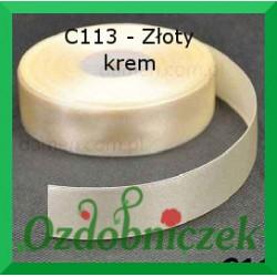 Tasiemka satynowa 25mm złoty krem C113 SZTYWNA