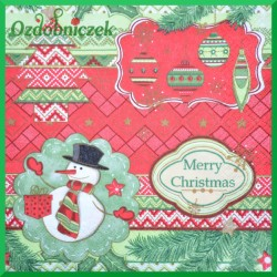 Serwetka do decoupage bałwanek Merry Christmas20 szt