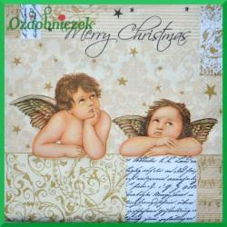 Serwetka do decoupage złote aniołki merry christmas 20 szt