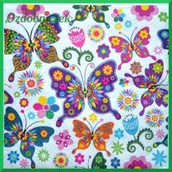 Serwetka do decoupage kolorowe motyle 1szt.
