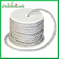 Sznurek oplatany srebrny metaliczny 7 mm / 13,5 mb