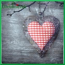 Serwetka do decoupage serce w czerwoną kratkę 1szt