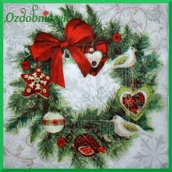 Serwetka do decoupage wianek świąteczny 1szt