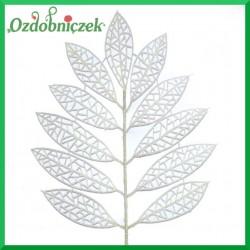 Liść brokatowy ażurowy 1 szt. biały