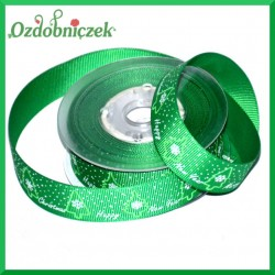 Tasiemka rypsowa zielona CHOINKI 20mm/1mb