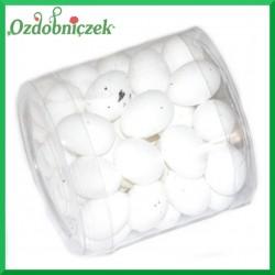 Jajeczka nakrapiane w pudełku BIAŁE 2,5 cm 50 szt