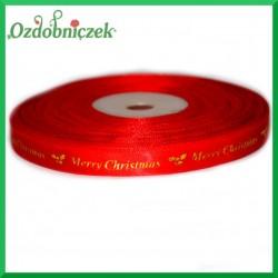 Wstążka tasiemka SATYNOWA czerwona ze złotym napisem Merry Christmas 10mm/27mb