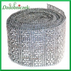 Taśma diamentowa ozdobna srebrne ŚNIEŻYNKI