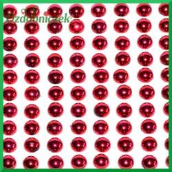 Perełki samoprzylepne 8mm czerwone metaliczne 240szt.
