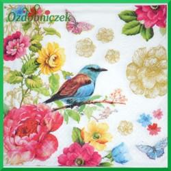 Serwetka do Decoupage niebieski ptak wśród kwiatów 1 szt.