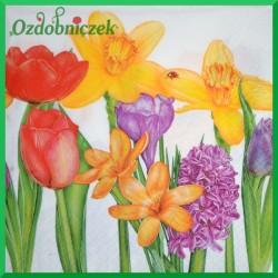 Serwetka do Decoupage żonkile tulipany hiacynty 1 szt.