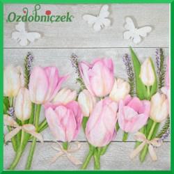 Serwetka do Decoupage różowe tulipany białe motylki 1 szt.