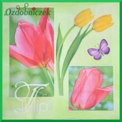 Serwetka do Decoupage kolorowe tulipany i motylki 1 szt.