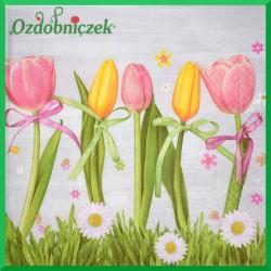 Serwetka do Decoupage różowe i żółte tulipany 1 szt.