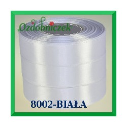 Wstążka tasiemka satynowa 38mm kolor biały 8002