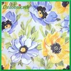 Serwetka do Decoupage kwiaty żółto-niebieskie 1 szt.