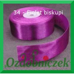 Wstążka tasiemka satynowa 25mm fiolet biskupi 34 SZTYWNA