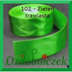 Tasiemka satynowa SZTYWNA 38mm/2mb kolor zieleń trawiasta 102