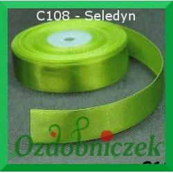 Wstążka tasiemka satynowa SZTYWNA 38mm/2mb kolor seledyn C108