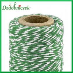 Sznurek bawełniany zielono-biały 1mm/50mb