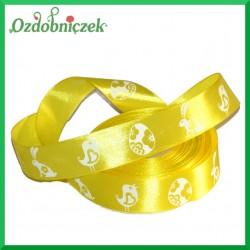 Wstążka tasiemka SATYNOWA żółta z motywem wielkanocnym 25mm/1mb