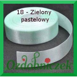Wstążka tasiemka satynowa 25mm zielona pastelowa 18 SZTYWNA