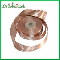Wstążka tasiemka SATYNOWA jasny brąz z motywem wielkanocnym 25mm/1mb