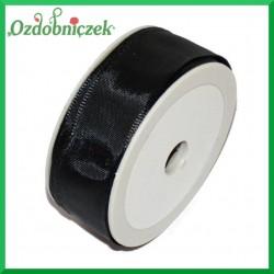 Tasiemka szyfonowa z drutem 25mm/20mb czarna