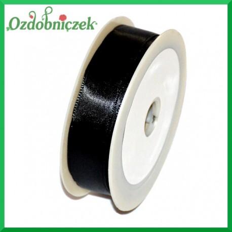 Tasiemka satynowa z drutem 25mm/20mb czarna