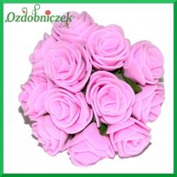 RÓŻOWE różyczki Z PIANKI 2,5cm 12szt.