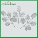 Liść brokatowy AŻUR 1 szt. SREBRNY