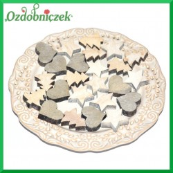 Drewniane ozdoby MINI mix serce choinka gwiazdka 3cm/24szt.