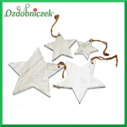 Gwiazdki drewniane białe 4 szt. mix rozmiaru
