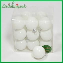 Bombki szklane matowo-błyszczące białe BOX 3cm/18szt.