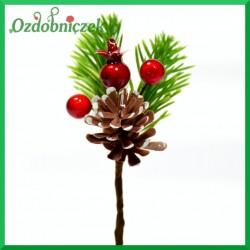 Mini gałązka ozdobna - jagódki szyszka dzika róża 10cm