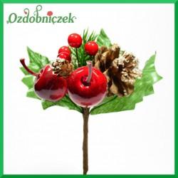 Gałązka ozdobna ( jagódki, jabłka, szyszka mini, szyszka, liście) 17cm