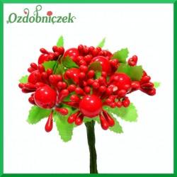 Jagódki szklane na druciku - czerwona gałązka ozdobna 6cm 10 owoców