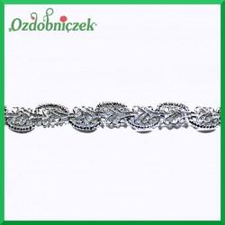 Taśma dekoracyjna srebrna wężyk i fala 1,2cm/8,5mb