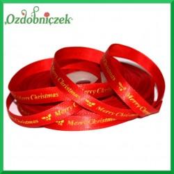 Wstążka tasiemka SATYNOWA czerwona ze złotym napisem Merry Christmas 10mm/1mb