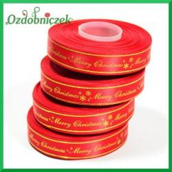 Wstążka tasiemka SATYNOWA czerwona ze złotym napisem Merry Christmas 17mm/27mb