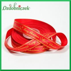 Wstążka tasiemka SATYNOWA czerwona ze złotym napisem Merry Christmas 17mm/1mb