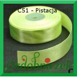 Wstążka tasiemka satynowa 25mm pistacja C51 SZTYWNA