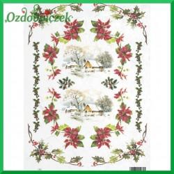 Papier ryżowy A4 R0446 - pejzaż świąteczny z gwiazdami betlejemskimi