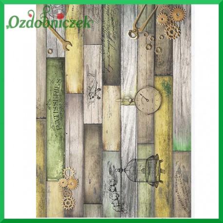 Papier ryżowy A4 R1114 - żółte zielone deseczki