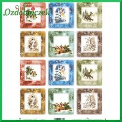 Przegródki ozdobne  - TAG066 - kwadraciki bożonarodzeniowe