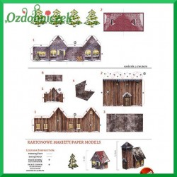 Kartonowa makieta drewniana wieża i domek PM-0002