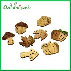 GRZYB LIŚĆ ŻOŁĄDŹ DYNIA - drewniane kształtki dwustronne 16szt.