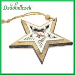 Gwiazdka w gwiazdce 3D z bałwankiem  11cm - zawieszka ozdobna DWUSTRONNA