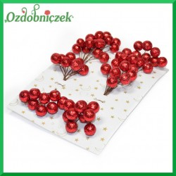 Brokatowe kuleczki czerwone BLISTER 8 gałązek 8 owoców na każdej
